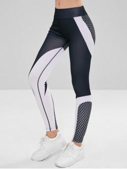 Fall and Winter Full Spliced Patchwork High Sports Fashion Elastic Waist Color Block Sport Leggings
