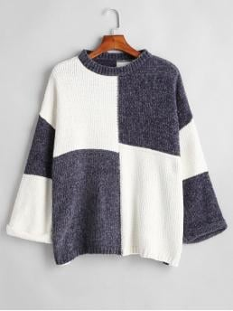 Winter Others Elastic Full Drop Crew Regular Loose Fashion Daily and Going Pullovers Chenille Two Tone Drop Shoulder Sweater
