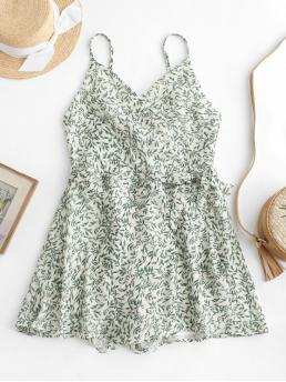 Summer No Leaf Nonelastic Sleeveless Spaghetti Mini Regular Fashion Daily and Going Knotted Overlap Leaves Print Cami Romper