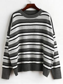 Autumn and Spring and Winter Striped Elastic Full Drop Crew Regular Loose Fashion Daily and Going Pullovers Oversized Crew Neck Stripes Pullover Sweater