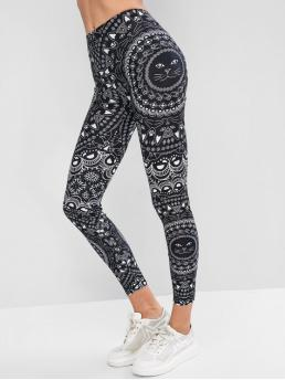 Fall and Spring 7/8 Animal and Floral High Daily and Sports Fashion Flower Cat Print Skinny Gym Leggings