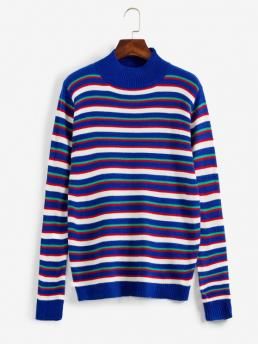 Clearance Full Sleeve Pullovers Polyacrylic Stripe D Mock Neck Sweater