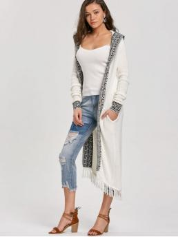 Fall and Spring Fringed Others Fashion Hooded Full Cardigans Hooded Fringe Jacquard Trimmed Longline Cardigan