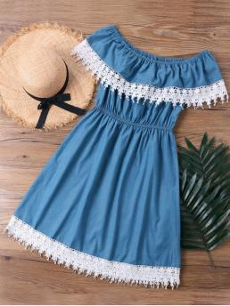 Summer No Solid Lace Short Off Knee-Length A-Line Beach Brief Lace Trim Overlay Off The Shoulder Dress
