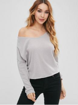 Slit Solid Micro-elastic Full Convertible High Loose Casual Pullovers Side Slit Loose Knitted Top