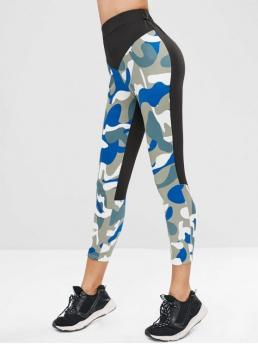 Fall and Spring and Summer Camo Elastic Low Sports Active Elastic Waist Splicing Camouflage Leggings