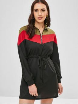 Fall and Spring No Others Zippers Long Batwing Turn-down Mini Sweatshirt Straight Casual and Day and Going Brief Half Zip Color Block Drawstring Dress