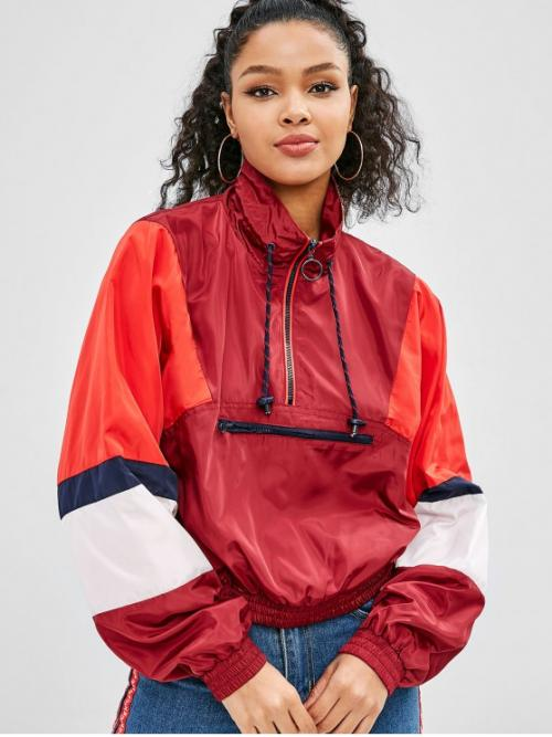 No Autumn and Winter and Spring Zippers Others Zipper High Batwing Full Regular Bat Fashion Jackets Daily and Going Color Block Zip Batwing Pullover Jacket