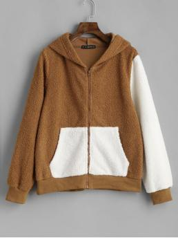 Autumn and Winter Pockets Others Zipper Hooded Full Regular Wide-waisted Fashion Jackets Daily and Going Hooded Two Tone Zip Pocket Fluffy Jacket