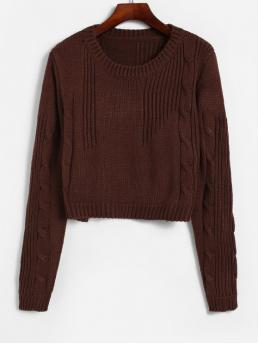 Autumn and Winter Solid Elastic Full Round Short Regular Fashion Daily and Going Pullovers Cable Knit Boxy Textured Crop Sweater