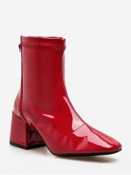 Patent Zip Solid 6CM 14CM Chunky Square Ankle Spring/Fall Fashion For Zip Back Chunky Heel Ankle Boots
