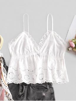 Summer Nonelastic Standard Solid Spaghetti Short Fashion Scalloped Skirted Eyelet Cami Top
