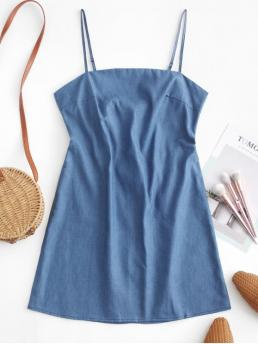 No Summer Solid Sleeveless Spaghetti Mini A-Line Casual and Day Fashion Chambray Knotted Back Short Cami Dress