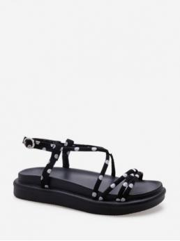 Summer Corduroy Rubber Others Slip-On Platform Ankle Casual and Daily Fashion For Cross Strap Polka Dot Pattern Sandals
