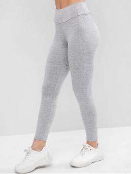 Fall and Spring 7/8 Others Elastic High Daily and Yoga Casual Ruched Back Heather Gem Leggings