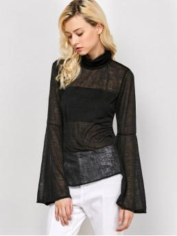 Fall and Spring Solid Full Turtlecollar Fashion Flare Sleeve See-Through T-Shirt