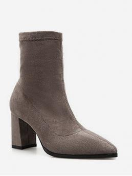 Suede Zip Solid 7CM Chunky Pointed Ankle Winter Fashion For Pointed Toe Chunky Heel Suede Boots