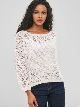 Autumn and Winter Crochet Solid Elastic Full Drop Round Regular Loose Fashion Daily and Outdoor Pullovers Crochet Openwork Chenille Sweater