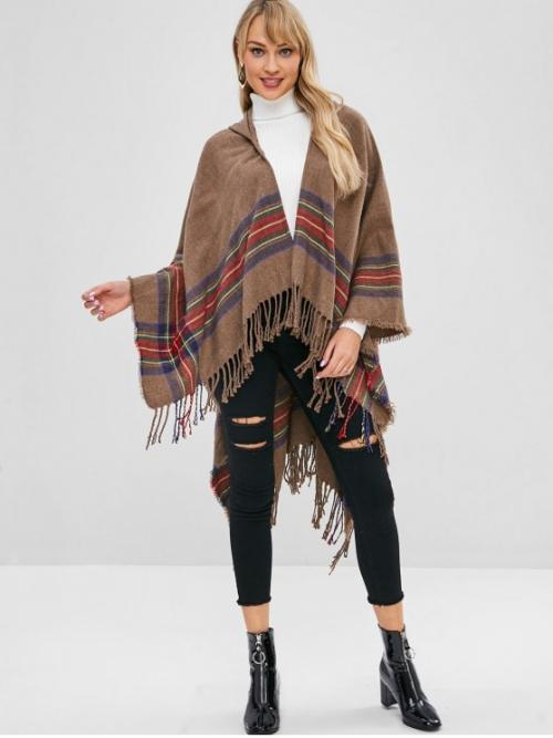 Fringed Striped Hooded Full Long Asymmetric Fashion Striped Fringed Hooded Cape Coat