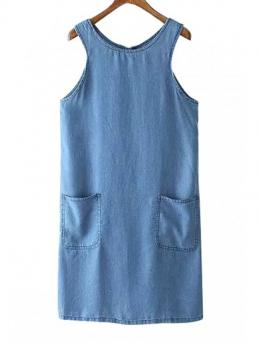 Summer No Solid Sleeveless Round Knee-Length A-Line Casual Round Neck Sleeveless Pocket Design Denim Dress