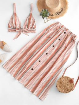 Summer Backless and Button Striped Flat Elastic High Sleeveless Plunging A Casual Casual Striped Backless Top and Buttons Skirt Set