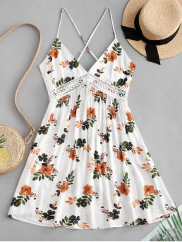 No Summer No Floral Sleeveless Spaghetti Mini A-Line Beach and Casual and Day and Holiday Fashion Floral Print Knot Back Flare Dress