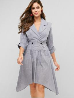 No Fall and Spring Others 3/4 Lapel Mid-Calf Asymmetrical Day and Work Fashion Lapel Button Embellished Asymmetrical Dress