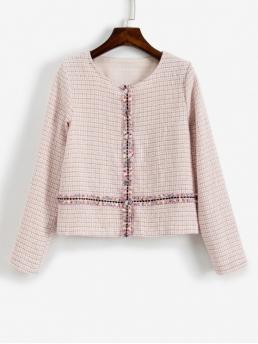 Autumn Button Plaid Round Full Regular Slim Fashion Jackets Daily Tweed Jacket