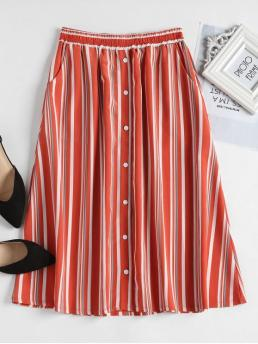 Summer Elastic Button Striped A-Line Mid-Calf Going Leisure Button Embellished Striped Skirt