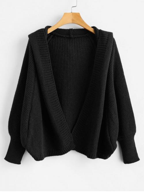 Autumn and Spring and Winter Elastic Full Hooded Regular Loose Fashion Daily Cardigans Hooded Open Front Batwing Cardigan