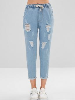 Fall and Spring and Winter Embroidery and Frayed and Pocket and Ripped Drawstring Straight Ninth Light Denim Casual Letter Embroidered Cuffed Ripped Jeans
