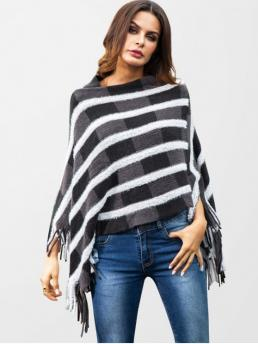 Autumn and Spring and Winter Fringed Stripe Elastic Full Slash Regular Loose Fashion Daily Pullovers Fluffy Striped Fringed Poncho Sweater