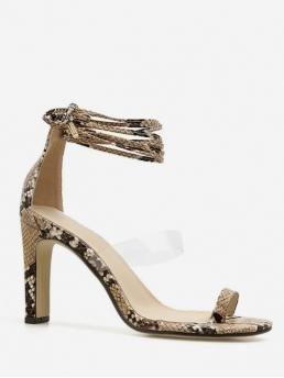 PU Rubber Animal Lace-Up Platform Ankle-Wrap Daily Fashion For Snake Toe Loop Ankle Wrap Sandals