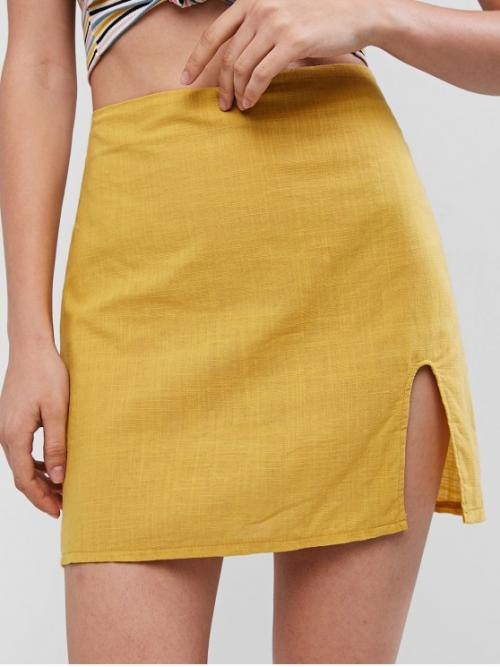Summer Zipper Slit Solid A-Line Mini Daily Leisure Slit A Line Solid Skirt