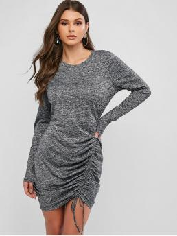 No Fall Elastic Others Long Round Mini Bodycon Day and Work Elegant Heathered Cinched Bodycon Dress