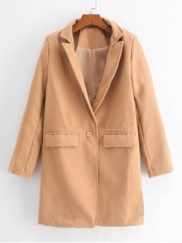 Autumn and Winter Solid Lapel Full Long Wide-waisted Coat Daily Casual One Button Flap Pockets Lapel Longline Coat