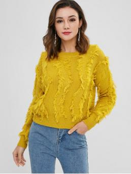 Autumn and Winter Solid Elastic Full Round Regular Regular Fashion Daily Pullovers Pullover Frayed Fringes Sweater