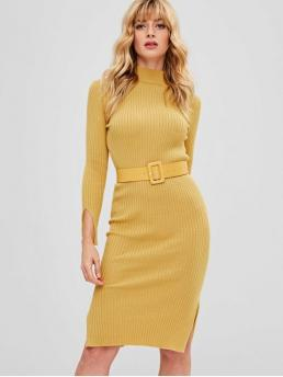 Yes Fall and Winter Solid Long Mock Knee-Length Sheath Day and Work Brief Bodycon Slit Belted Sweater Dress
