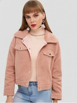 No Winter Pockets Solid Turn-down Drop Full Regular Wide-waisted Fashion Jackets Daily and Going Pocket Shearling Teddy Fluffy Jacket
