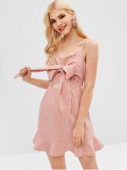 No Summer Gingham Ruffles Sleeveless Spaghetti Mini A-Line Vacation Brief Cut Out Gingham Cami Dress