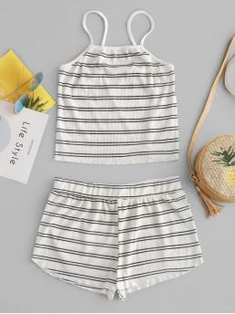 No Summer Striped Flat Elastic Mid Elastic Sleeveless Spaghetti Regular Fashion Casual and Daily and Going Ribbed Striped Cami Top and Shorts Set