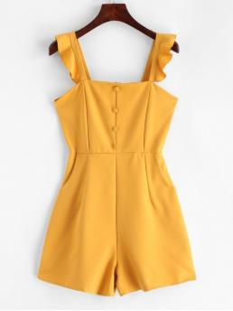 Summer No Button and Pockets and Ruffles Solid Nonelastic Sleeveless Square Mini Regular Fashion Daily and Going Pockets Ruffles Buttoned Sleeveless Romper