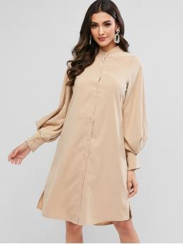 No Fall and Spring Solid Slit Long Lantern High Knee-Length Shirt A-Line Casual and Day Fashion Lantern Sleeve Slit Button Up Shift Shirt Dress