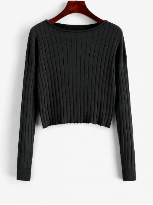 Autumn and Spring and Winter Solid Elastic Full Drop Slash Short Regular Fashion Daily Pullovers Drop Shoulder Slash Neck Cropped Sweater