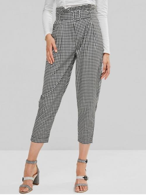 Fall Yes Zipper Straight Gingham Loose High Casual Gingham Belted Zipper Fly Paperbag Pants