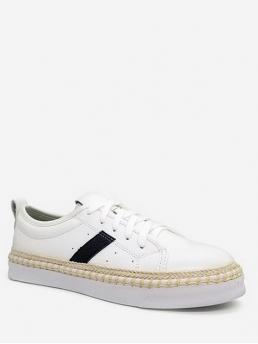 Spring/Fall PU Striped Lace-Up For Stripe Detail PU Leather Espadrille Sneakers