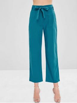 Fall Yes Zipper Wide Solid Loose High Casual High Waist Belted Wide Leg Pants