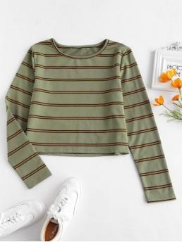 Autumn and Spring Striped Full Round Fashion Long Sleeve Striped Tee