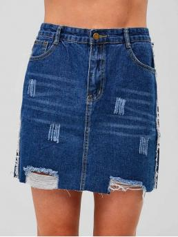 Summer Zipper Others A-Line Mini Daily Fashion Zip Fly Ripped Mini Skirt