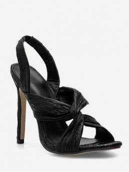 Summer PU Rubber Solid Elastic Stiletto Ankle Club and Dress Fashion For Twist PU Leather Stiletto Heel Sandals